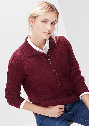 Zopfmuster-Pullover mit Mohair