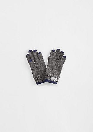 Zweifarbige Strick-Handschuhe