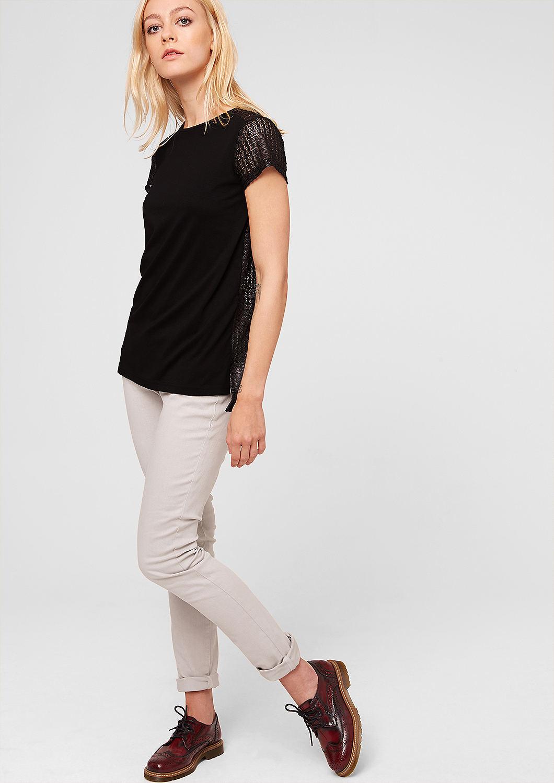 jerseyshirt mit spitzen r cken kaufen s oliver shop. Black Bedroom Furniture Sets. Home Design Ideas