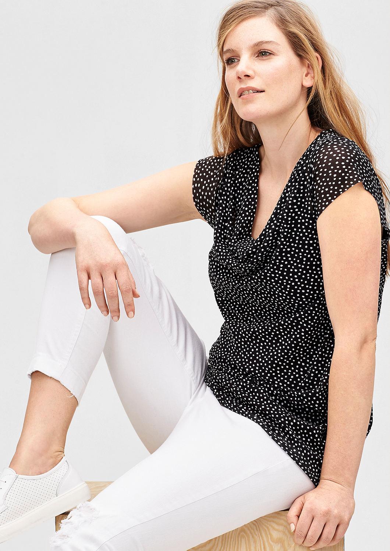 wasserfall shirt mit p nktchen kaufen s oliver shop. Black Bedroom Furniture Sets. Home Design Ideas