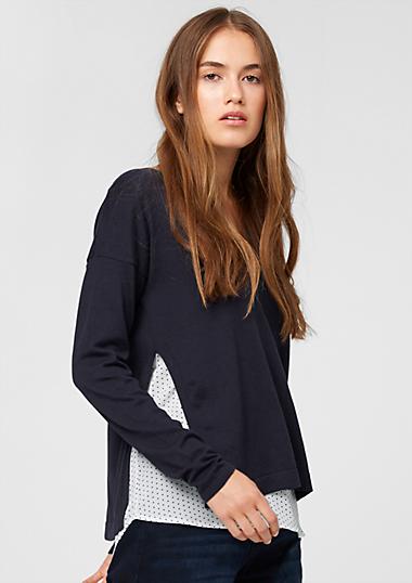 pullover mit blusen details kaufen s oliver shop. Black Bedroom Furniture Sets. Home Design Ideas