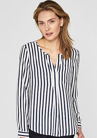 Gestreepte blouse met transparant effect