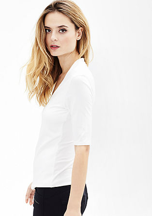 Stretch-Shirt mit V-Neck