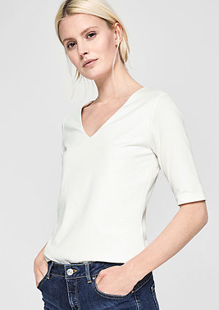 Stretchshirt mit V-Neck