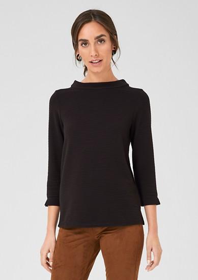 High Neck-Shirt mit Streifenstruktur