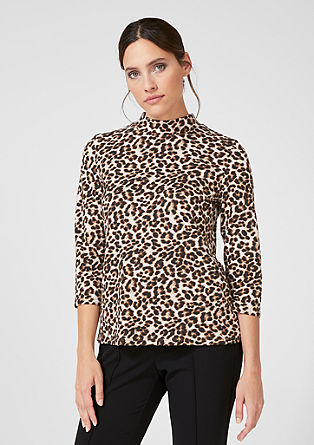 High-neck top with a leopard print from s.Oliver