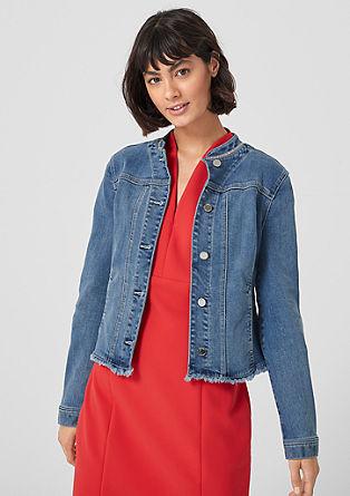 Jeansjacke mit Schmuckkragen