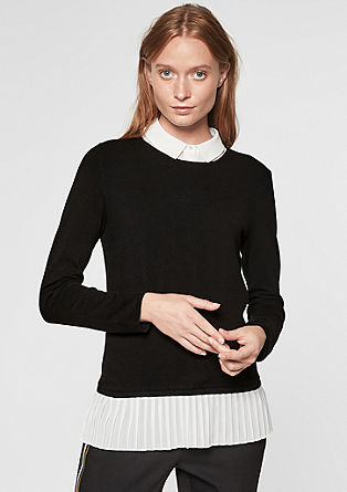 Fine knit jumper in a layered look from s.Oliver
