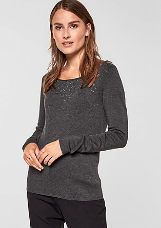Knitted jumper with rhinestones from s.Oliver