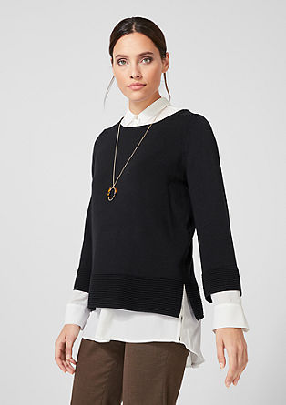 Fine knit jumper with ribbed details from s.Oliver