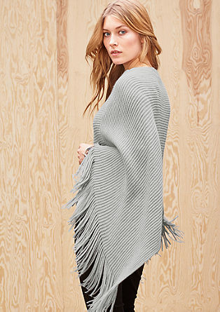 Rib knit poncho with fringing from s.Oliver
