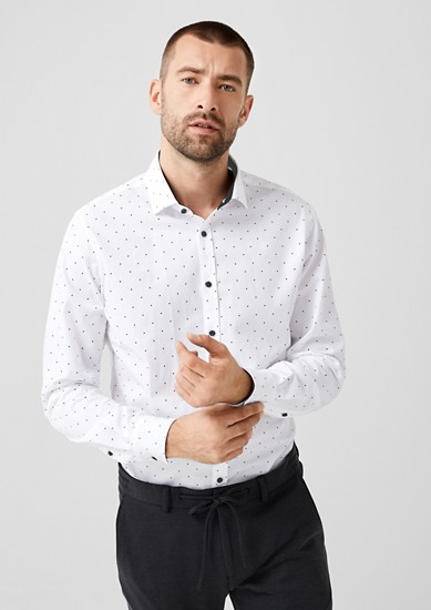 Slim: business overhemd met stippels