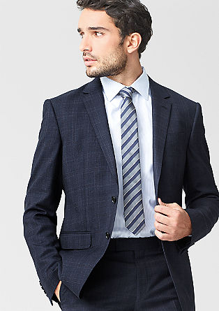 Regular: check wool jacket from s.Oliver