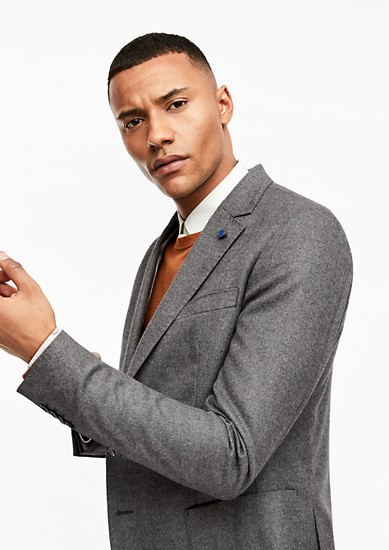 Slim: Fine flannel tailored jacket from s.Oliver