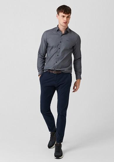 Slim: Gemustertes Chambray-Hemd