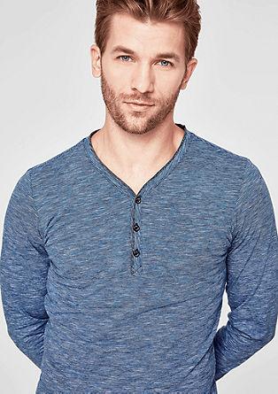 Slim: Henleyshirt in Melange-Optik