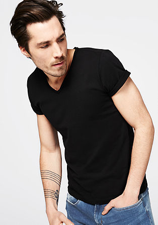 V-Neck Shirt aus Jersey