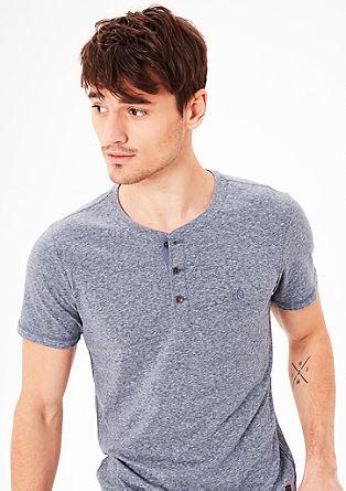 Meliertes Shirt mit Knopfleiste