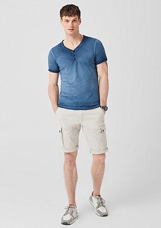 Pigment Dye-Shirt mit Slub-Streifen