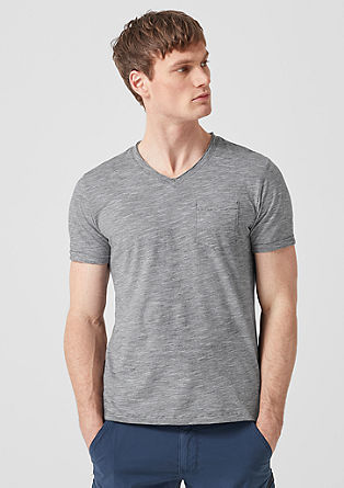 V-Neck-Shirt mit Streifenstruktur