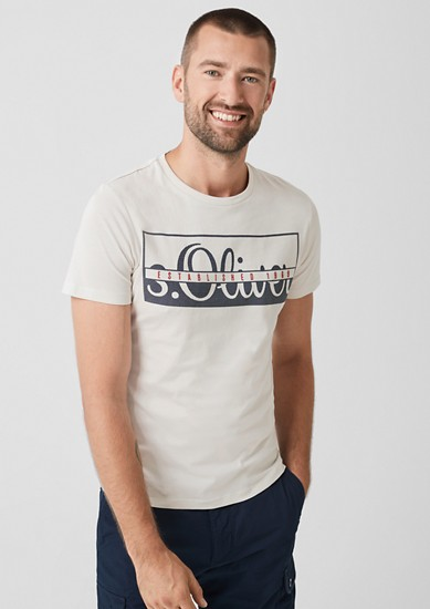 Slim: jersey shirt met artwork