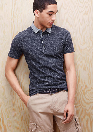 Slim fit polo shirt with a patterned collar from s.Oliver