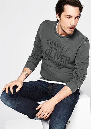 Label-Sweatshirt in Garment Dye