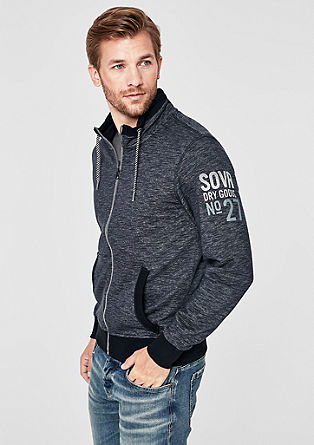 Slub yarn sweatshirt jacket with a stand-up collar from s.Oliver