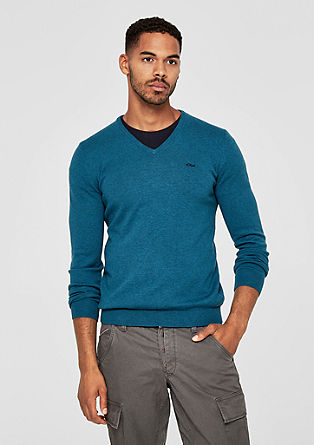Cotton jumper with a V-neckline from s.Oliver
