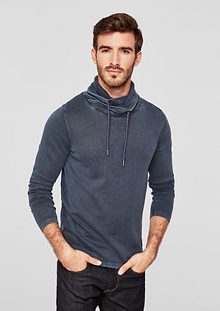 Garment-dyed jumper with a shawl collar from s.Oliver
