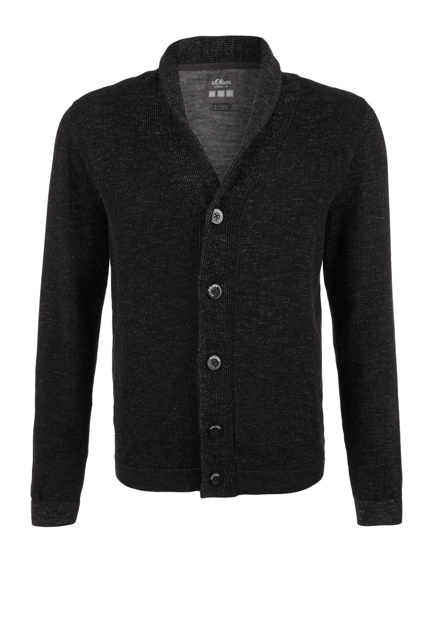 Strickjacke | Bekleidung > Strickjacken & Cardigans > Strickjacken | Grau/schwarz | 100% baumwolle | s.Oliver