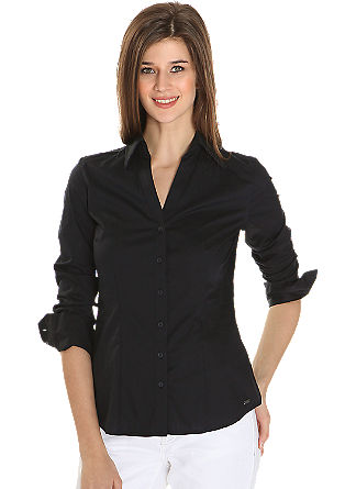 Taillierte Bluse aus Baumwoll-Popeline mit Stretchanteil