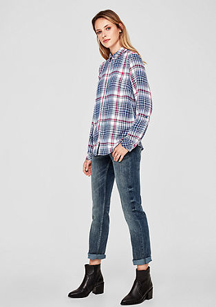 Flannel blouse with a check pattern from s.Oliver