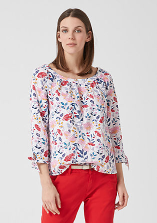 Patterned blouse with broderie anglaise from s.Oliver