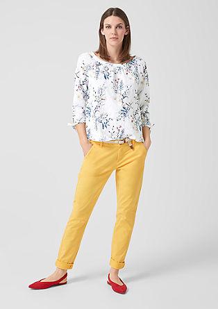 Vzorčasta bluza z luknjičasto vezenino