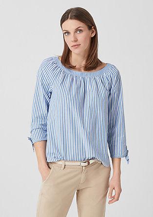 Gestreepte blouse met geknoopte details