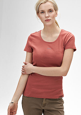 Ribbed top with a logo print from s.Oliver