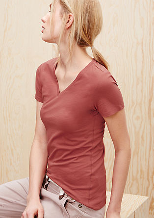 Fitted T-shirt with a V-neck from s.Oliver