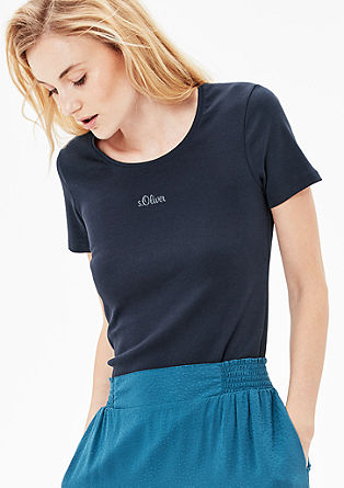 Ribbed T-shirt with a logo print from s.Oliver