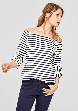 Off-shoulder shirt met volantmouwen