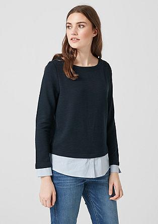 Sweatshirt met blouseachtige laagjeslook
