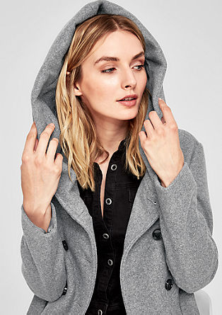 Wool blend coat with a hood from s.Oliver