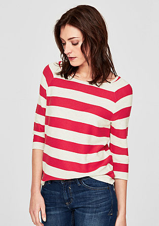 Rib knit jumper with block stripes