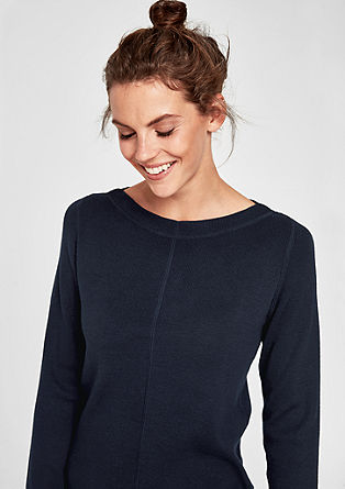 Ribbed jumper with a bateau neckline from s.Oliver