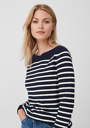 Fine knit jumper in a striped look from s.Oliver
