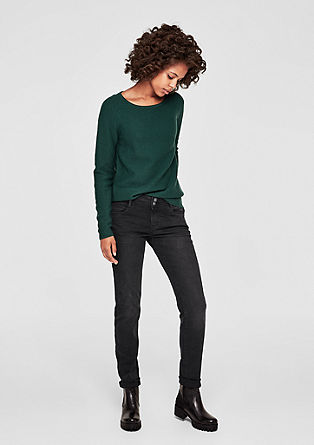 Shape slim: jeans met finish in vintage look