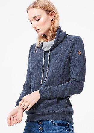 Športen pulover z ovratnikom v obliki šala