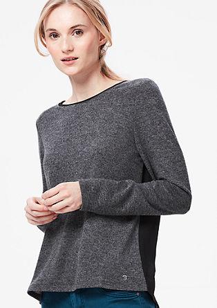 Pleten pulover s hrbtnim delom v videzu bluze
