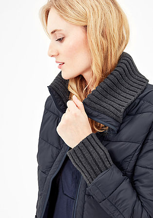 Quilted jacket with rib knit details from s.Oliver