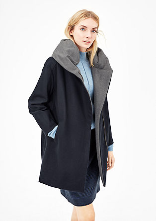 Oversized-Wolljacke im Two-Tone-Look